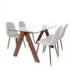 Criss Cross Tempered Glass Modern Dining Table Wengue