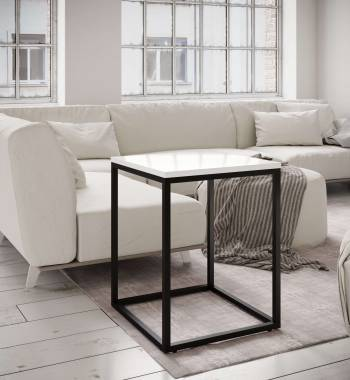 Louis High Gloss Side Table White