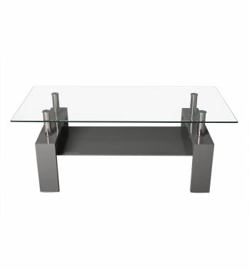 Metro Clear Glass High Gloss Coffee Table Grey