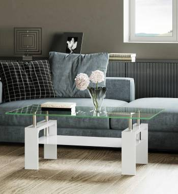 Metro Clear Glass & High Gloss Coffee Table White