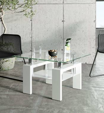 Metro Clear Glass White High Gloss Side Table