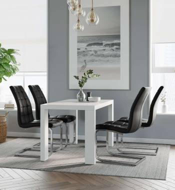 Miami White Dining Table with 4 New York Dining Chairs