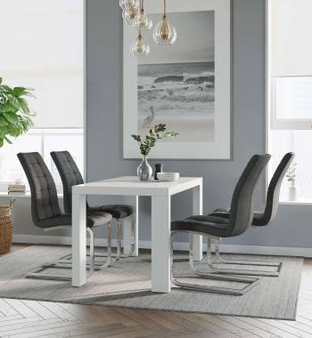 Miami White Dining Table with 4 New York Charcoal Dining Chairs