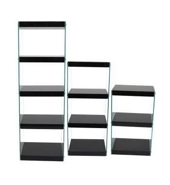 Moda Glass High Gloss Shelving Unit Black (Set of 3)