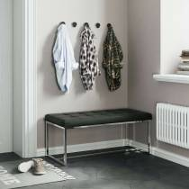 New York Modern Black Cushioned Leather and Chrome Dining Bench