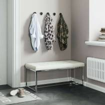 New York Modern White Cushioned Leather and Chrome Dining Bench