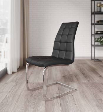 New York Faux Leather Black Cantilever Dining Chair