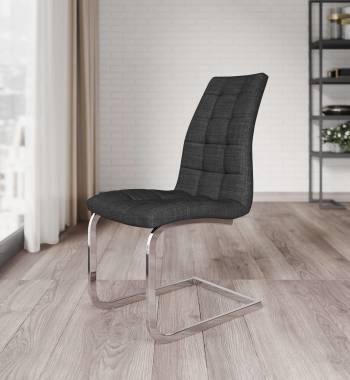 New York Fabric Charcoal Cantilever Dining Chair