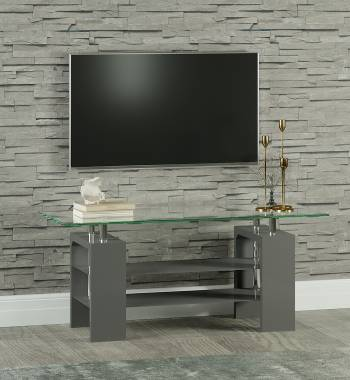 Metro High Gloss Clear Glass TV Stand Grey
